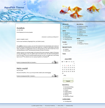 Wordpress fish theme